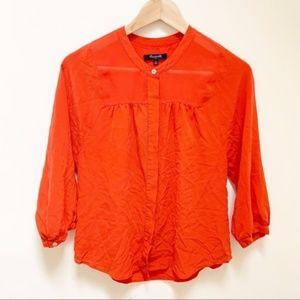 Madewell Collarless 100% Silk Blouse S